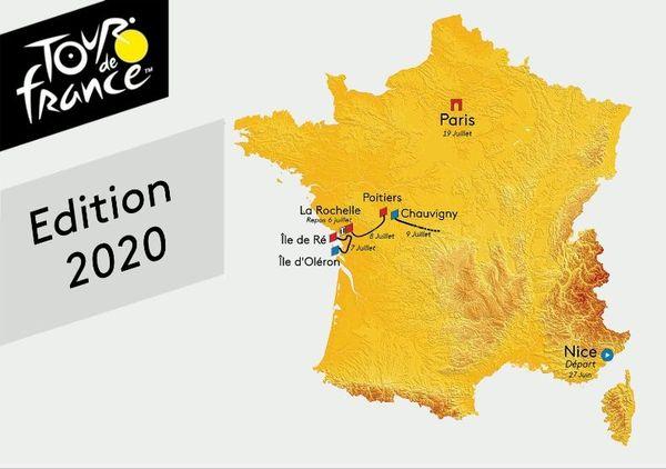Tracé (non officiel) du Tour de France 2020 en Poitou-Charentes