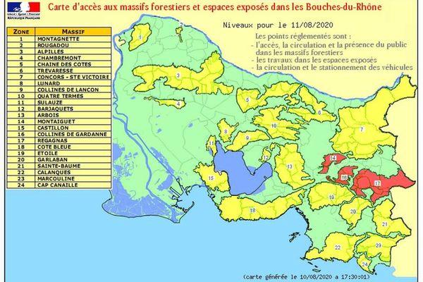 Trois massifs sont interdits d'accès ce mardi dans les Bouches-du-Rhône.