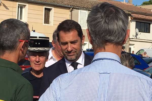 Générac (Gard) - Christophe Castaner en visite rend hommage aux pompiers - 31 juillet 2019.
