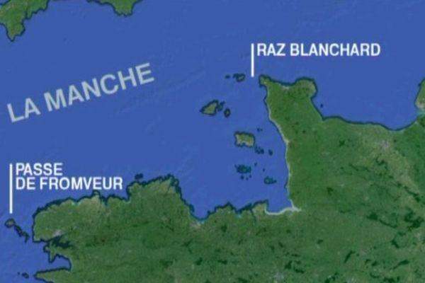 Le Raz Blanchard et la Passe de Fromveur, les deux futurs sites d'implantation des hydroliennes