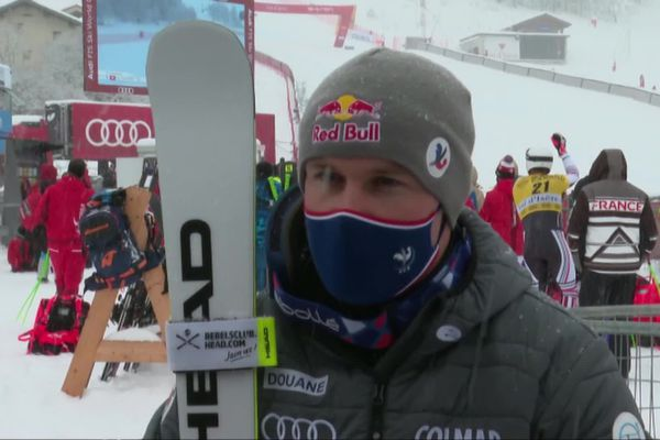 """Alexis Pinturault à l'issue de sa course ce 12 décembre à Val d'Isère : """"Même sans spectateur, on est quand même à la maison"""""""