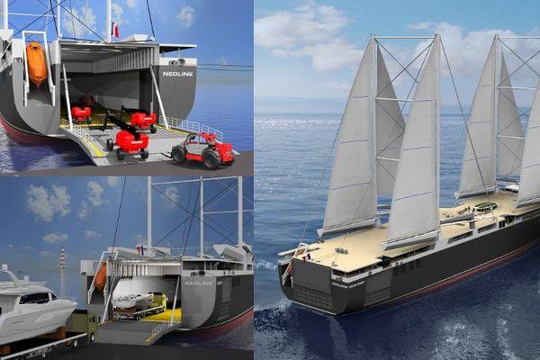Le cargo à la voile Neoline pourra transporter des chariots élévateurs ou encore des yachts