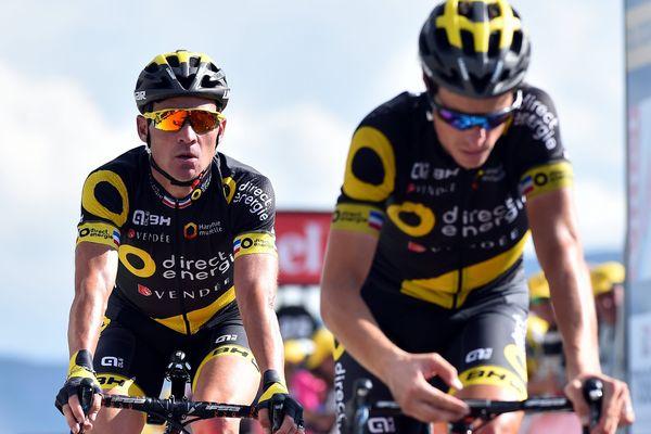 Sylvain Chavanel, suivi de Thomas Voeckler lors du Tour 2017