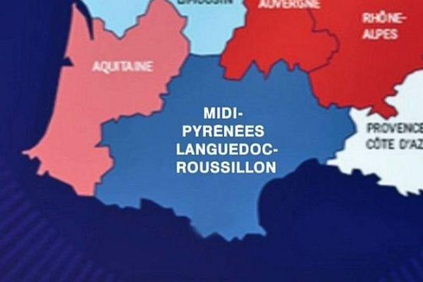 La carte de la nouvelle grande région Midi-Pyrénées-Languedoc-Roussillon.