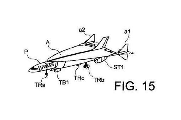 Un des dessins du projet d'avion figurant sur le brevet déposé par Airbus auprès du Bureau américain des brevets et des marques de commerce.