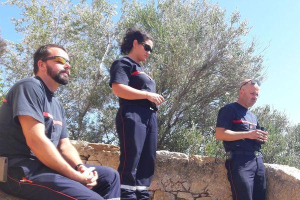 Un Groupe d'Intervention Feux de Forêt (GIFF) prépositionné en Balagne (Haute-Corse) dans le cadre du dispositif de prévention des incendies