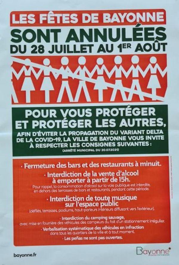 L'affiche des Fêtes de Bayonne annulées en juillet 2021.