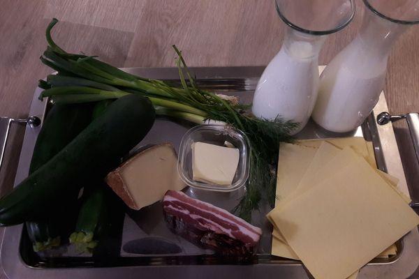 Les ingrédients pour préparer les lasagnes aux courgettes