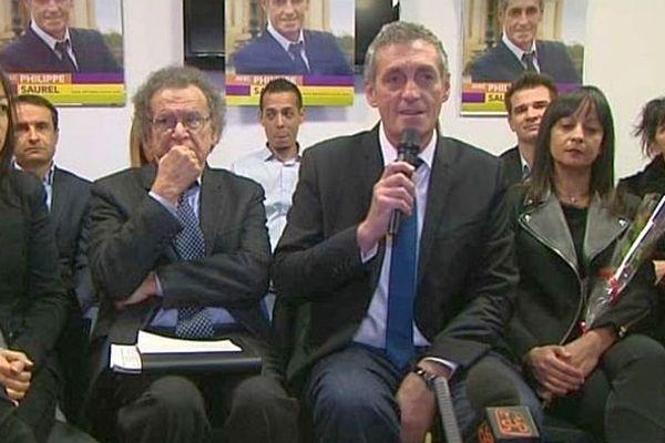 Montpellier - le candidat Philippe Saurel et ses soutiens - 2 décembre 2013.