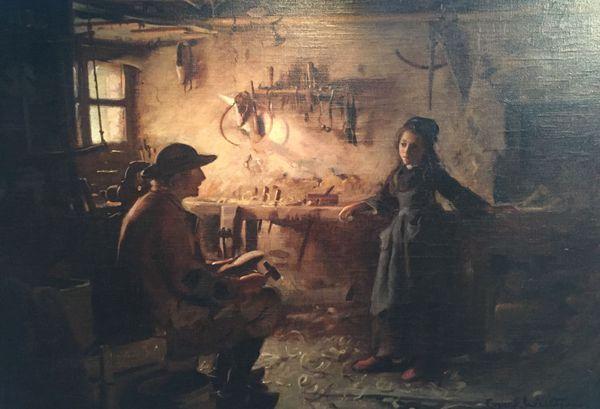 """""""L'atelier du sabotier"""", une oeuvre de Guy Wilthew"""