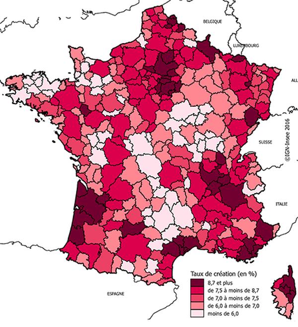 Des taux de création élevés autour des grandes agglomérations - Taux de création d'entreprise (hors auto-entreprise) en 2013 par zone d'emploi (en %)