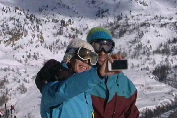 Photo souvenir des premières descentes à Isola 2000.