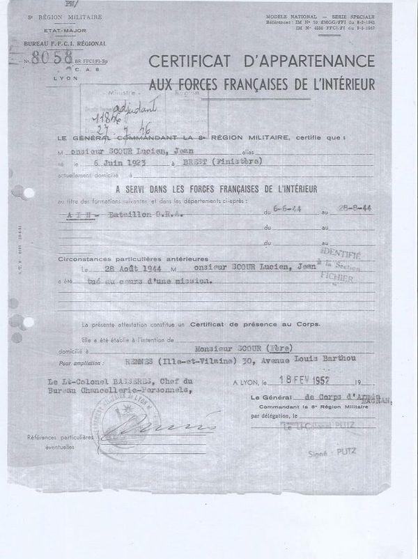 le certificat de décès de Lucien Scour