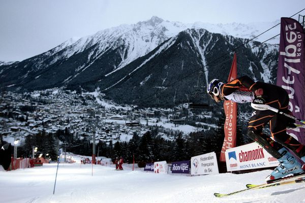 Le départ du slalom à Chamonix le 2 février 2010.
