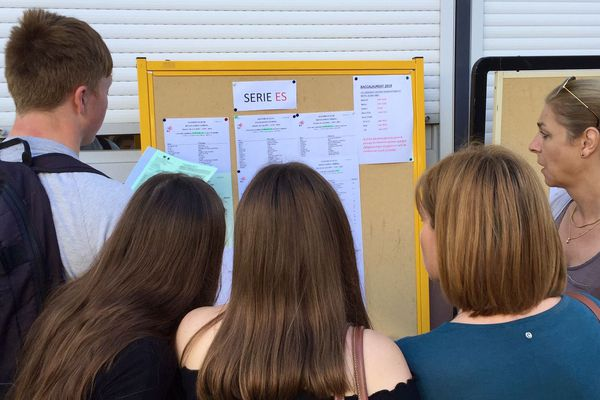 Des élèves cherchent leurs résultats du Bac 2019 au lycée Raoul Follereau de Nevers.