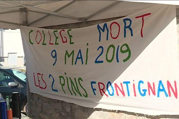 Le collège des Deux Pins, à Frontignan (Hérault), proteste contre les réformes dans l'Education Nationale