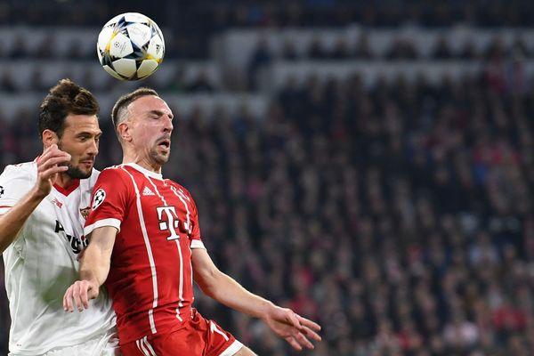 Franck Ribéry, le mercredi 11 avril 2018 lors de la rencontre entre le Bayern et le FC Séville.
