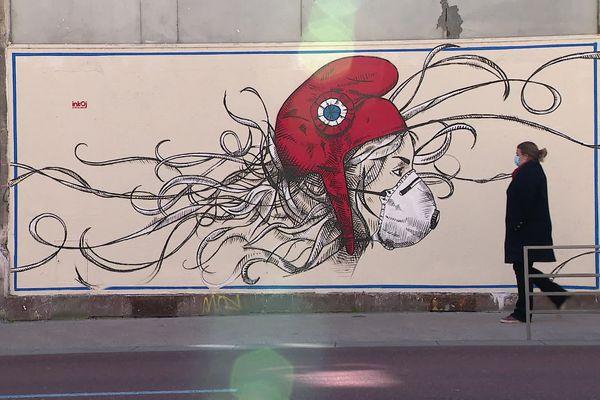 Virginie s'est inspirée de cette fresque peinte à Rouen pour réaliser l'un de ses dessins.