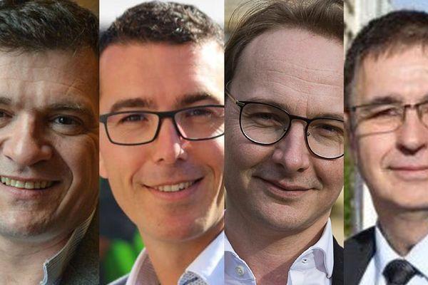 Dans l'ordre, les candidats à la mairie de Châlons-en-Champagne : Benoist Apparu à gauche, Rudy Namur, Alan Pierrejean et Dominique Vatel.