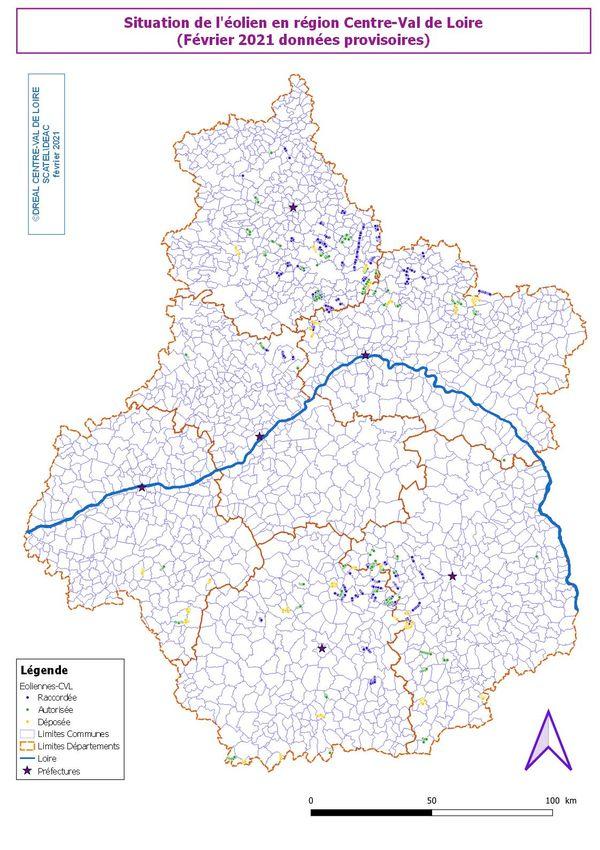 Situation de l'éolien en région Centre-Val de Loire (février 2021).