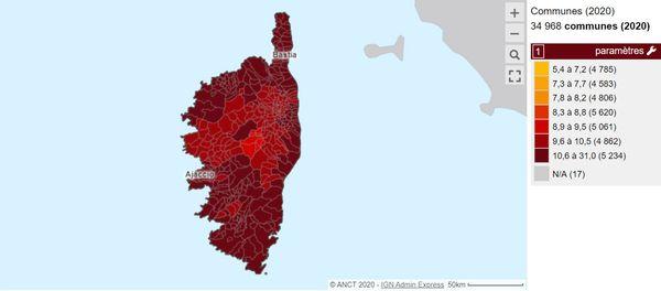 La Corse, du nord ou sud et de l'est à l'ouest, se situe dans la fourchette haute des loyers français.