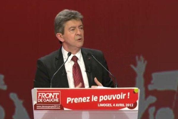 Jean-Luc Mélanchon lors de son meeting à Limoges le 4 avril 2012