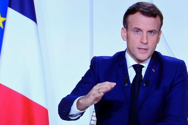 Le président de la République, Emmanuel MACRON, pour une septième allocution solennelle télévisée depuis le début de la crise sanitaire liée à l'épidémie de coronavirus.