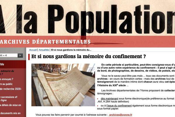 L'appel lancé sur internet par les archives départementales de l'Yonne pour envoyer ses souvenirs du confinement.