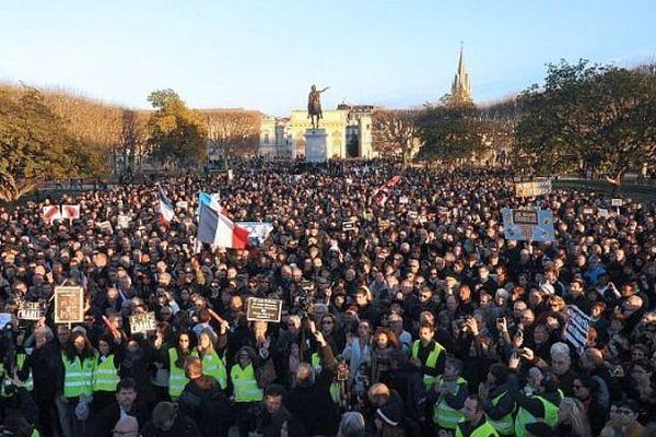 Montpellier - la foule de la manif pour Charlie au Peyrou - 11 janvier 2015.