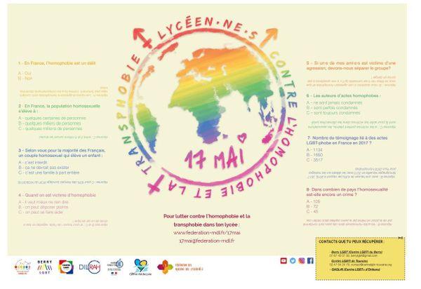 Set de table financé par la région Centre et les trois centre LGBTI de la région (Touraine, Berry, Orléans)