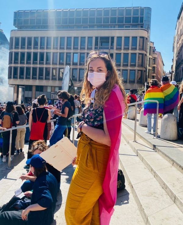 Bilamé à Lyon pour le rassemblement de la fierté lesbienne, samedi 24 avril 2021