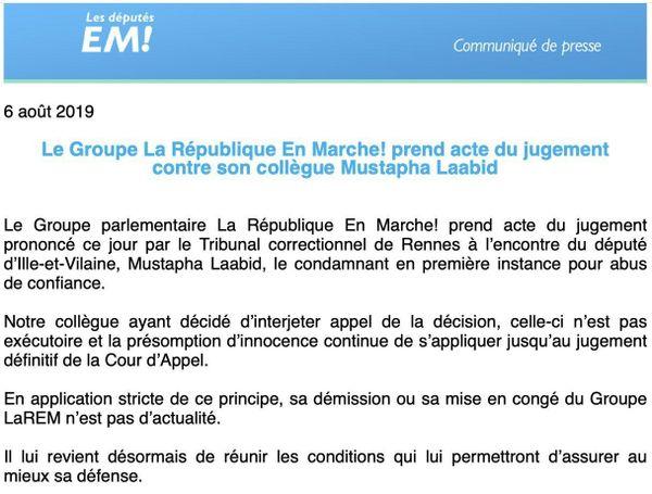 Communiqué de presse du groupe parlementaire En Marche! suite à la condamnation de Mustapha Laabid