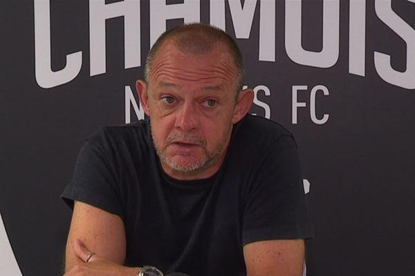 Pascal Plancque, entraîneur Chamois Niortais, lors d'une conférence de presse (15/08/2019)