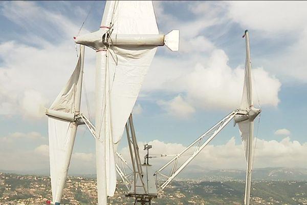 L'éolienne à voile crée par Charles Sarrazin, un inventeur niçois