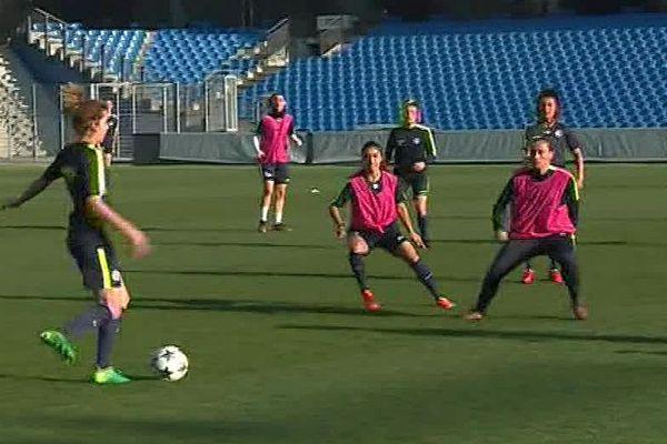 Montpellier - les filles du MHSC à l'entrainement avant le match de 1/4 de finale aller contre Chelsea - 20 mars 2018.