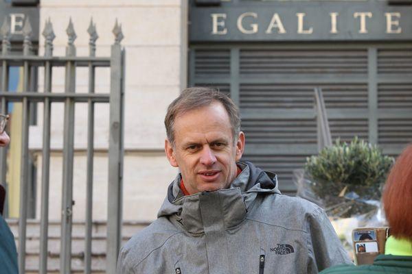 Pierre-Alain Mannoni, le 6 janvier 2017 à  la sortie du tribunal correctionnel de Nice, après sa relaxe