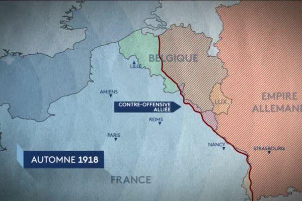 La ligne de front à l'automne 1918