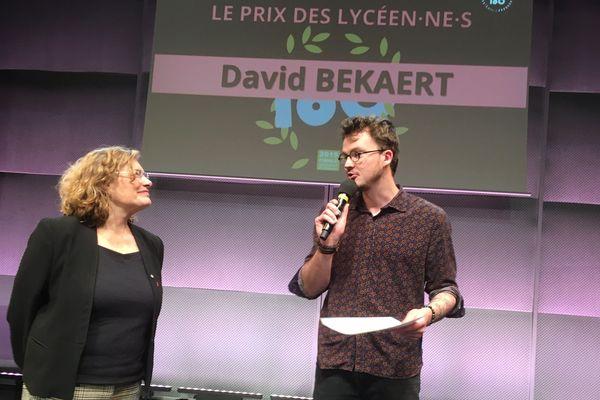 """David Bekaert décroche le prix du jury, du public et des lycéens au  concours 2019 """"Ma thèse en 180 secondes"""" à Nancy."""
