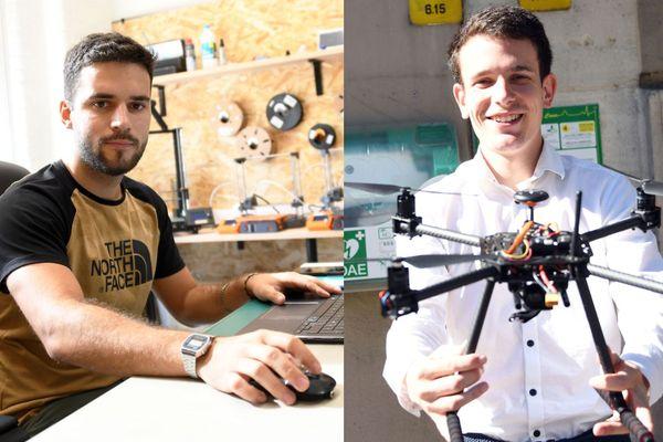 Tom Gueneau, à gauche dans son fablab, développe le projet de miroir connecté ; Mattis Hauchecorne, à droite, a pour projet un drone équipé d'un défibrillateur.