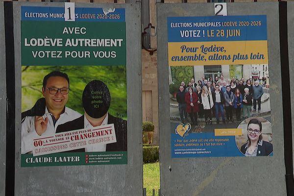Un panneau électoral pour le second tour des municipales 2020 à Lodève. Une triangulaire a opposé Gaëlle Lévêque (DVG), Claude Laateb (DVD) et Gérard Maurin (RN) dimanche 28 juin.