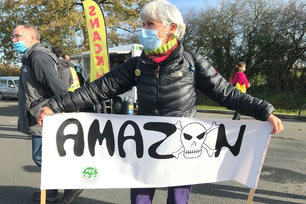 Le collectif contre l'implantation d'Amazon à Montbert au sud de Nantes a réuni une centaine de participants pour son pique-nique