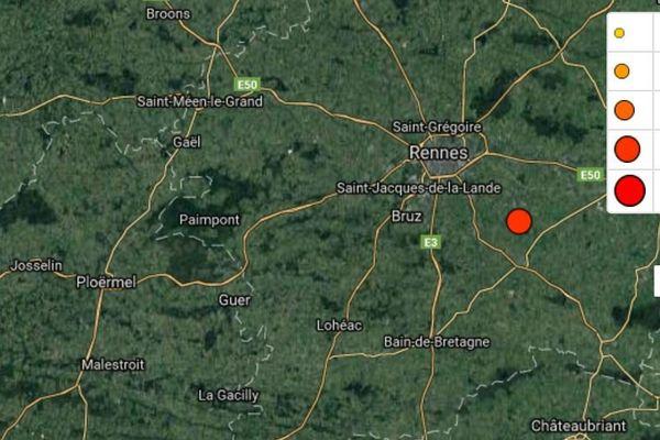 En rouge l'épicentre du séisme qui a touché le sud de Rennes dans la nuit du 27 au 28 septembre 2017