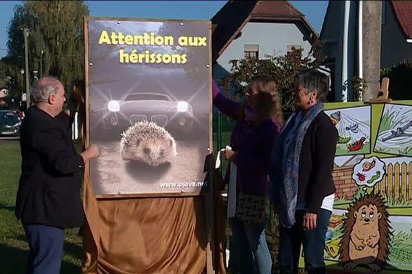 """Le premier panneau """"Attention aux hérissons"""" dévoilé dans le Haut-Rhin"""