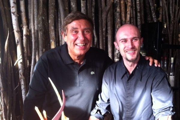 """photo : Jean-Pierre Foucault avec le chef du restaurant """"le sens"""" , Michael Breuil"""