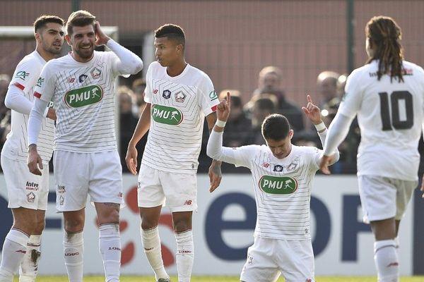 Luiz Araujo célèbrant le premier but du LOSC ce dimanche après-midi contre Raon-l'Etape.