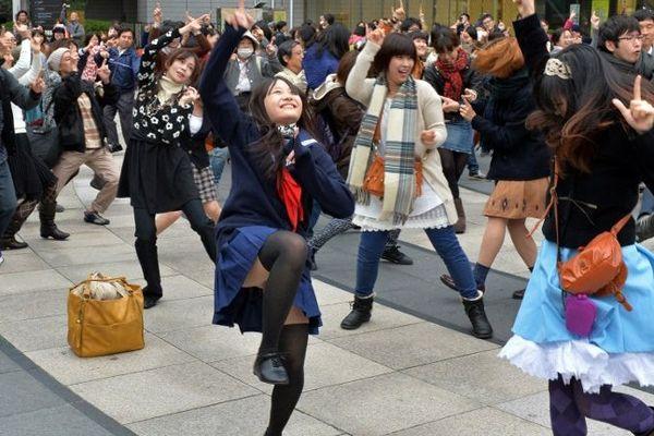 Lors d'une flashmob à Tokyo au Japon en 2013