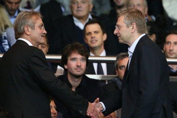 Frédéric Thiriez , président de la ligue nationale de football et Dmitriy Ribolovlev, président de l'AS Monaco
