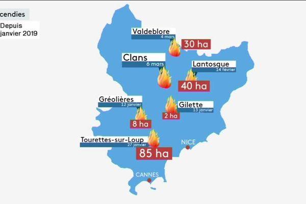 Les principaux incendies dans les Alpes-Maritimes depuis le début de l'année.