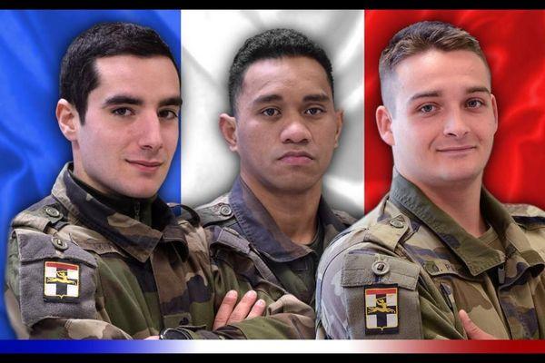 le 1ère Classe Dorian ISSAKHANIAN, le Brigadier-chef Tanerii MAURI et le 1ère Classe Quentin PAUCHET, du 1er régiment de Chasseurs de Thierville-sur-Meuse, engagés dans l'opération #Barkhane et morts au combat en décembre 2020.