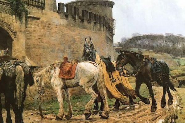 Ce tableau signé Christian Skresdvig représente une scène imaginaire sur laquelle on reconnaît la tour des gendarmes à Caen.